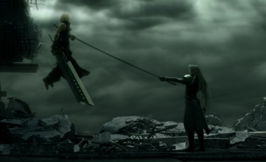 Sephiroth impaling Cloud upon his Masamune - Final Fantasy VII: Advent Children