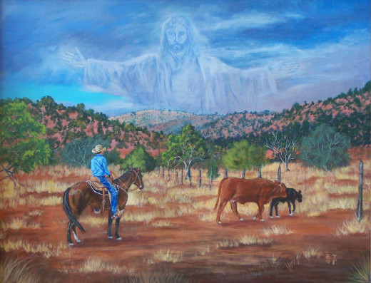 """The Real King of the Cowboys""  The trees in this painting are not pine trees, they are New Mexico cedar trees.  However, the techniques used to paint  the pine trees can also be applied to these types of trees."