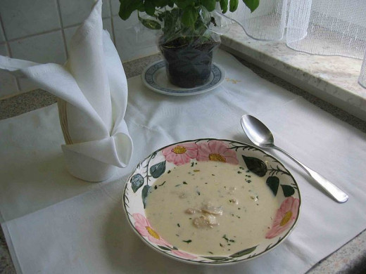 Your dish should look something like this cream of mushroom