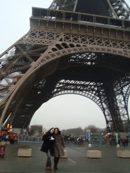 me and a friend outside the eiffel tower