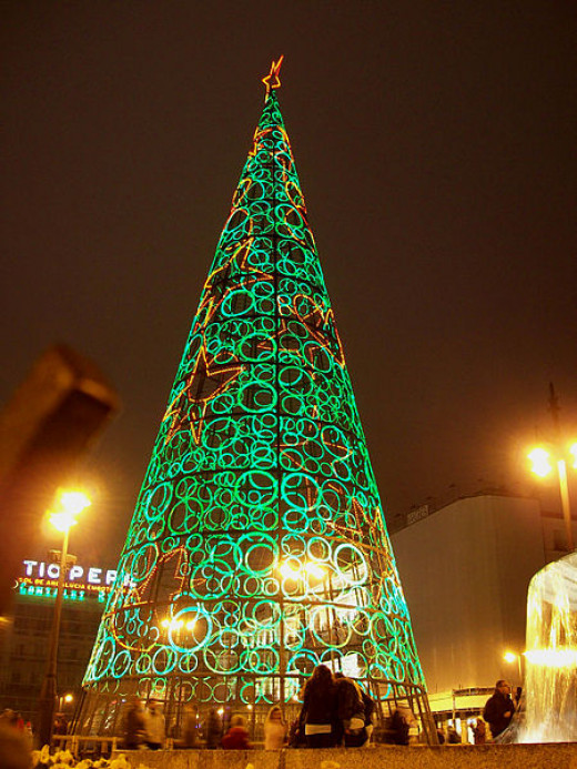 Christmas light tree at Puerta del Sol - Madrid, Spain