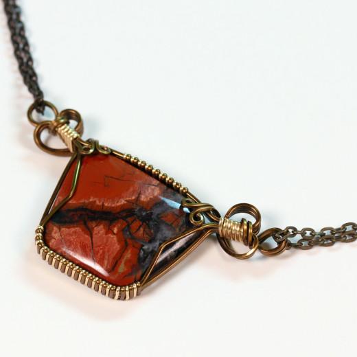 Red Jasper set in a pendant