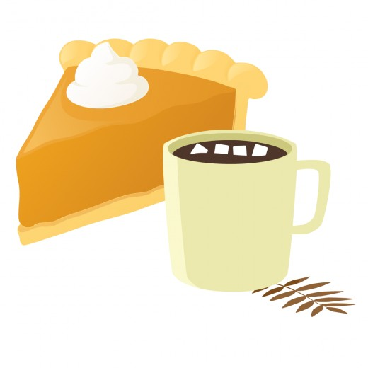 Free food clip art: Slice of pumpkin pie with whipped cream and hot chocolate