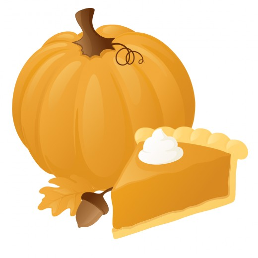 Free food clip art: Whole pumpkin and pumpkin pie slice for Thanksgiving