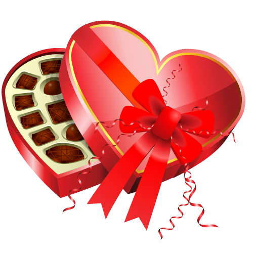 Free food clip art: Heart-shaped box of chocolate candy for Valentine's Day