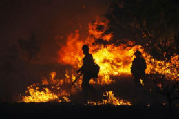 Firefighters battled close to the flames as they brought one of three wildfires in Arizona under control in June 2011