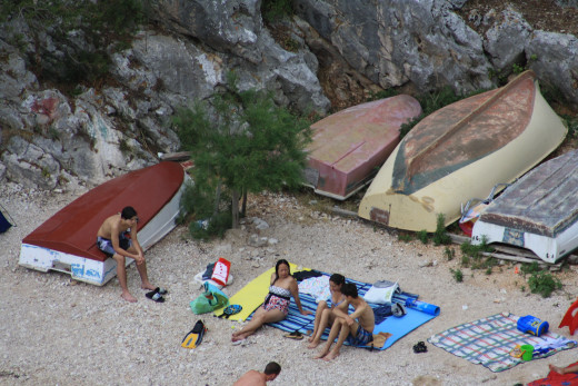 The white sandy, peeble beach, view from the terrace, Uvala Liubljeva, Croatia
