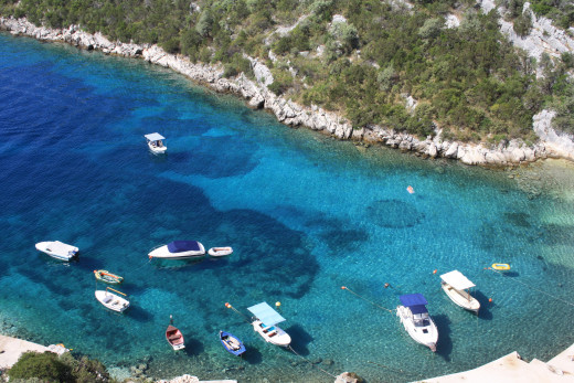 Adriatic sea with crystal clear blue water, view from the terrace, Uvala Liubljeva, Croatia