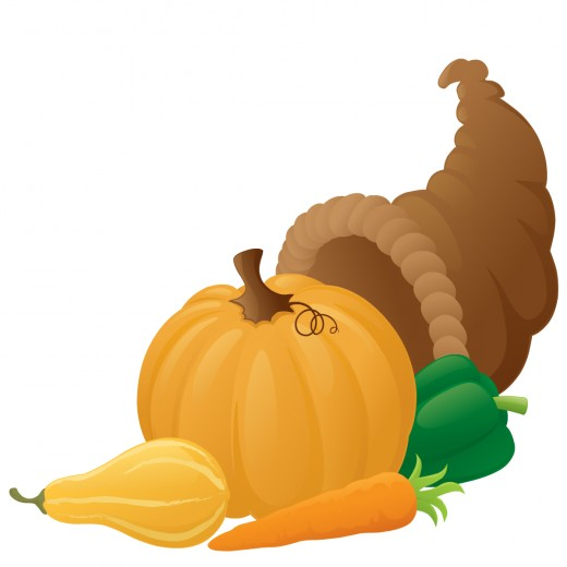 Food clipart: Pumpkin and other vegetables in cornucopia