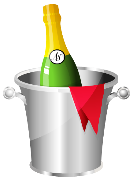 Free champagne bottle and ice bucket clip art