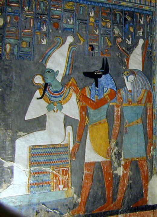 The gods Osiris, Anubis, and Horus