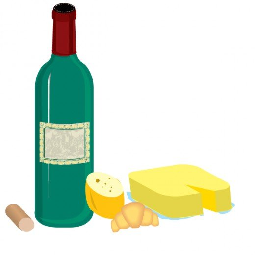 Free food clip art: wine bottle and assorted cheeses
