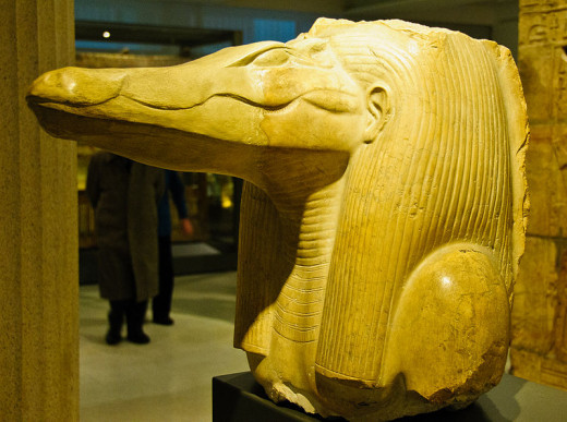 This statue of Sobek was found at Amenemhat III's mortuary temple (which was connected to his pyramid at Hawara in the Faiyum), serving as a testament to this king's devotion to Sobek. Ashmolean Museum, Oxford.