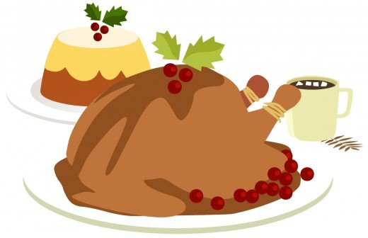 Food clip art: Turkey, dessert and hot chocolate for Thanksgiving and Christmas