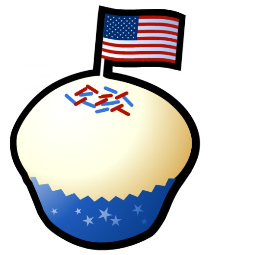 Free vanilla cupcake with red, white and blue sprinkles and American flag clip art