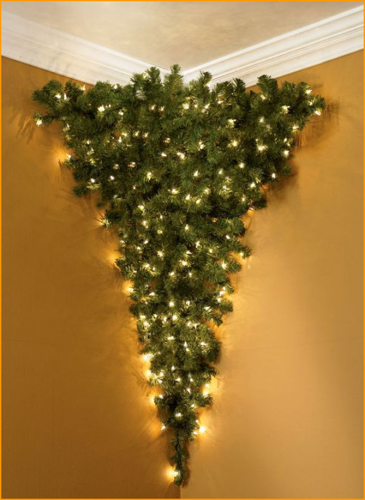 An Upside Down Corner Christmas Tree