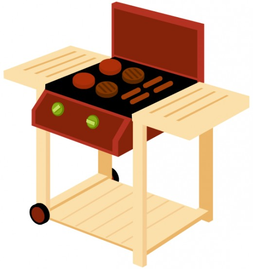 Food clipart: BBQ grill with hamburgers and hot dogs