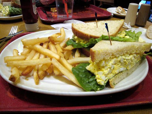 Deviled Egg Salad Sandwich With French Fries
