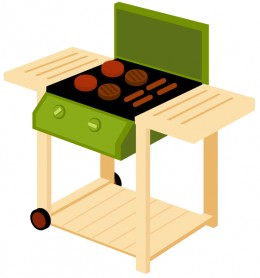 Free food clip art: Green BBQ grill with hamburgers and hot dogs
