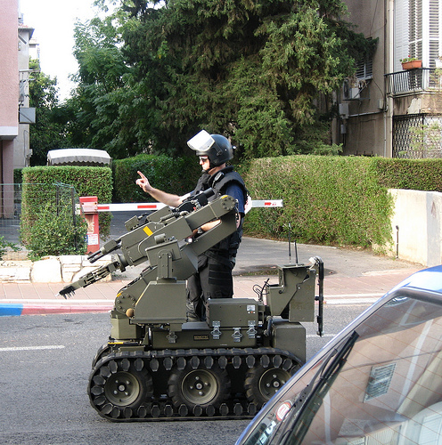 "A robot sent to explode an abandoned (suspicious) object.  A picture from ""mominisrael.blogspot.com"""