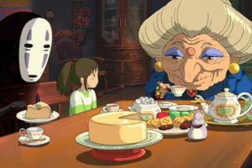 Zeniba hosting Chihiro and friends in her humble abode
