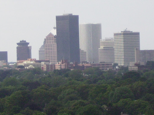 Office Buildings Dominate Skyline of Downtown Rochester, NY