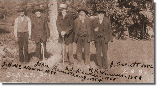 Topeka pioneers including John Armstrong and Samuel J. Reader later in life.