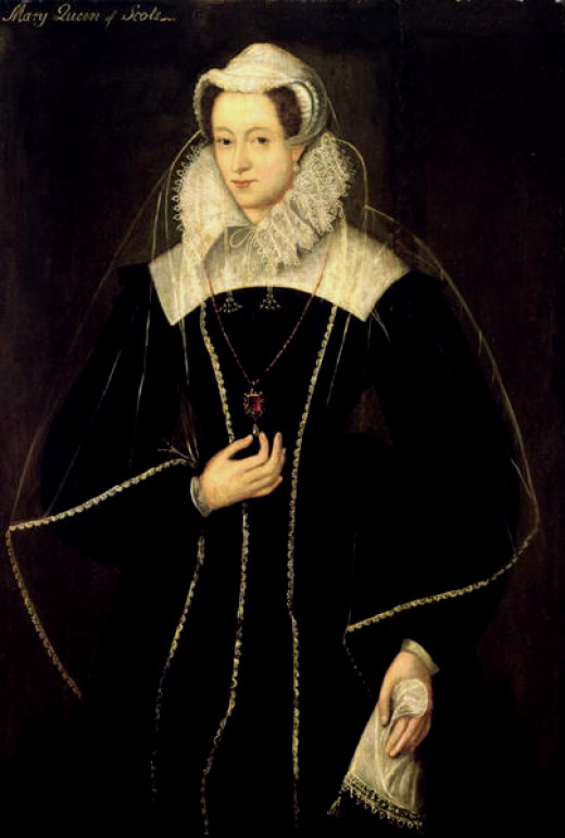 Mary, Queen of Scots in the classic gown and headwear strongly associated with her. This portrait was painted during her years of captivity in England.