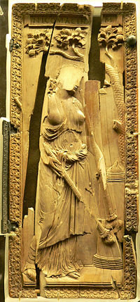 """Ivory diptych of a priestess of Ceres, still in fully classical style, ca 400: the """"idol"""" was defaced and thrown in a well at Montier-en-Der (later an abbey) where it was found. (Musée de Cluny)"""