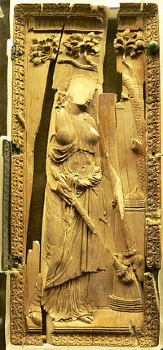 "Ivory diptych of a priestess of Ceres, still in fully classical style, ca 400: the ""idol"" was defaced and thrown in a well at Montier-en-Der (later an abbey) where it was found. (Musée de Cluny)"