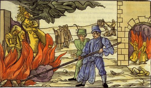 Spanish Inquisitors burning witches