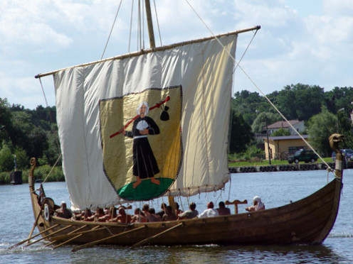 A modern replica of a Viking ship.