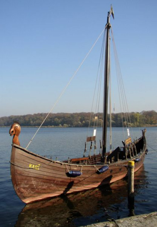 This is what a real Viking Longship  would have looked like. It would have carried a boat load of  warriors into battle.