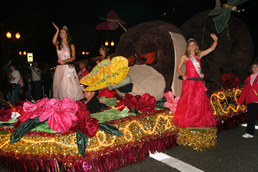 Flower-covered floats at the Starlight Parade, kicking off the festival.