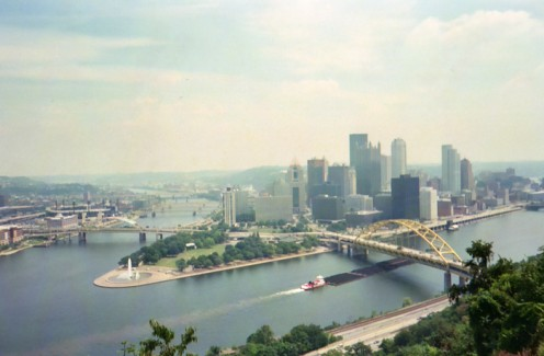 The Pittsburgh skyline, taken from the trolley going up the Dusquesne Incline.
