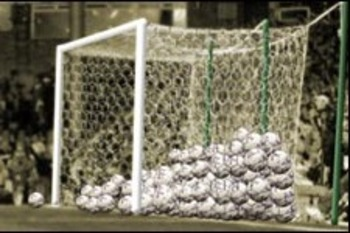 The soccer balls in the goal from the 149-0 game!