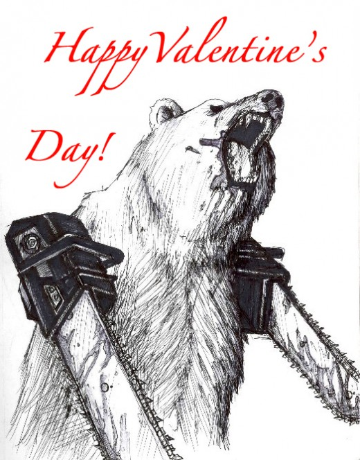 bear with chainsaw arms = love?