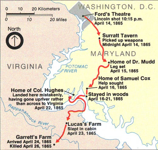 Escape Route Of John Wilkes Booth