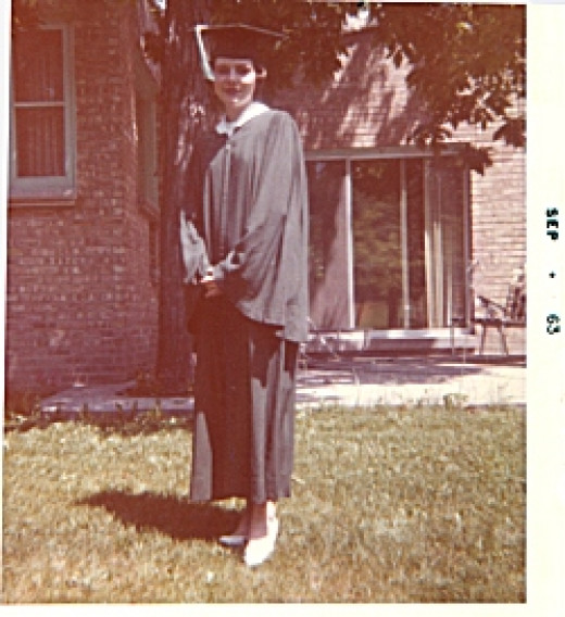 """1963 (Graduation in June in front of my Aunt Marion's house) From notation on side, it appears my parents must have waited until September to """"develop"""" the film!"""