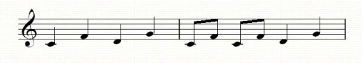 A melody based on the interval of a fourth