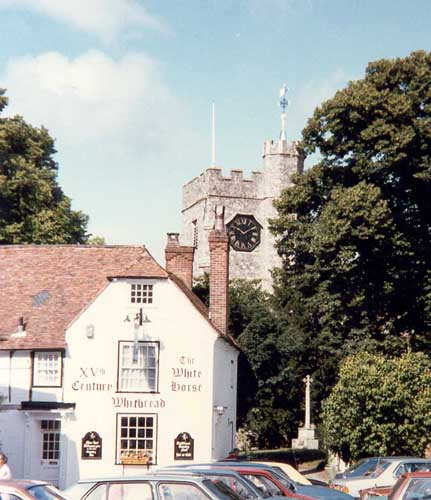 The White Horse, Chilham with St Mary's Church behind