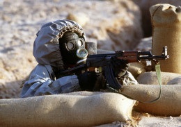 Syrian troops with gas gear