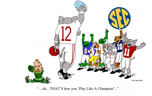 Cartoon depicting the blowout championship victory of the Crimson Tide against the Notre Dame Fighting Irish in 2013.