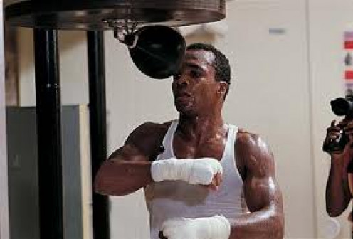Sugar Ray Leonard, seen here hitting the speed bag won an Olympic Gold medal and titles in five weight classes as a pro.