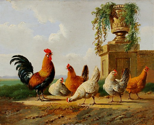 Albertus Verhoesen: Chickens and a park vase