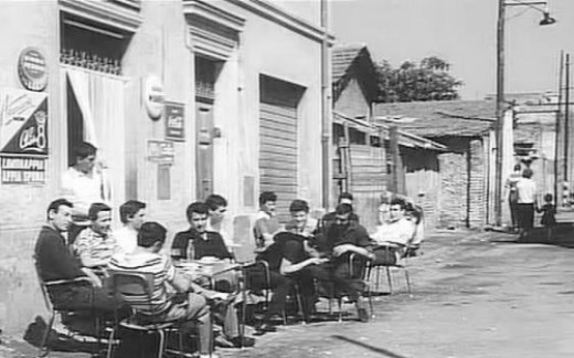 "The bar of the Ragazzi in the Pasolini's film ""Accattone"" (1961), taken from his novels about the proletarian boys of the Rome periphery."