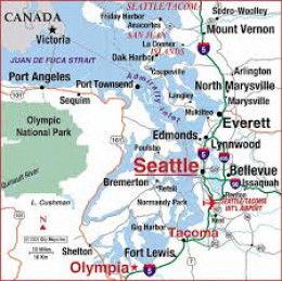 Seattle, Washington, USA. This is how it looks on a map...