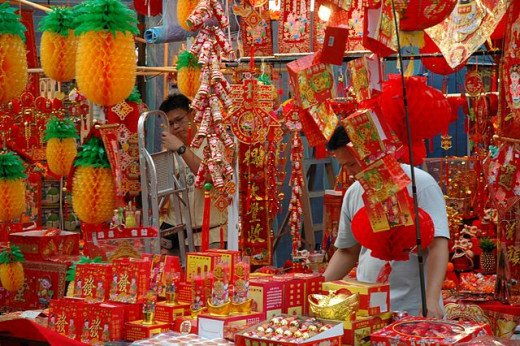 Decorative ornaments being sold in shops during Chinese New Year