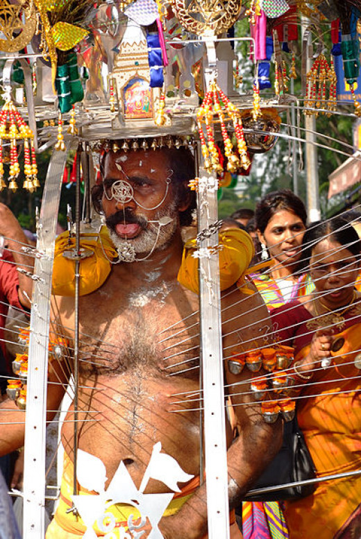 Hindu devotee carrying a kavadi with bodily piercings during Thaipusam