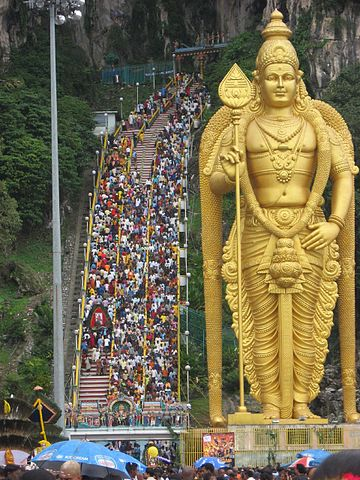 Batu Caves in Selangor, Malaysia - the main focus of Murugan worship during Thaipusam in the region